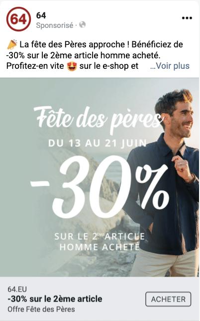publicite facebook ads marque 64